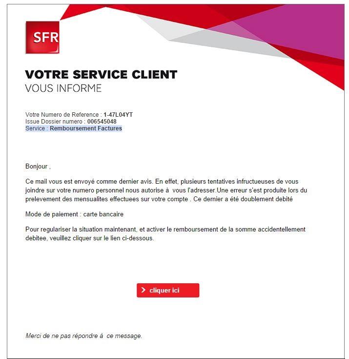 mail du service client sfr